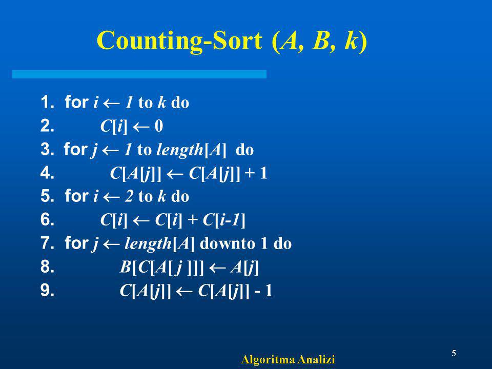 Counting-Sort (A, B, k) 1. for i  1 to k do 2. C[i]  0